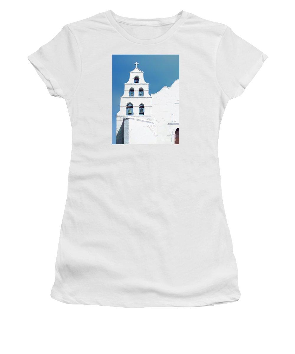 Contemporary Art Women's T-Shirt featuring the digital art Mission San Diego De Alcala by John Engen