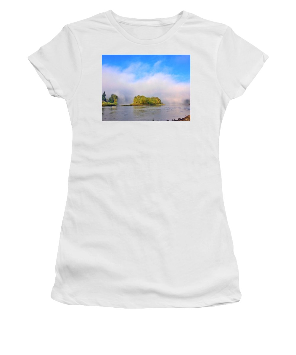 Mist Women's T-Shirt (Athletic Fit) featuring the photograph Mist Rising On The Willamette River by Anna Porter