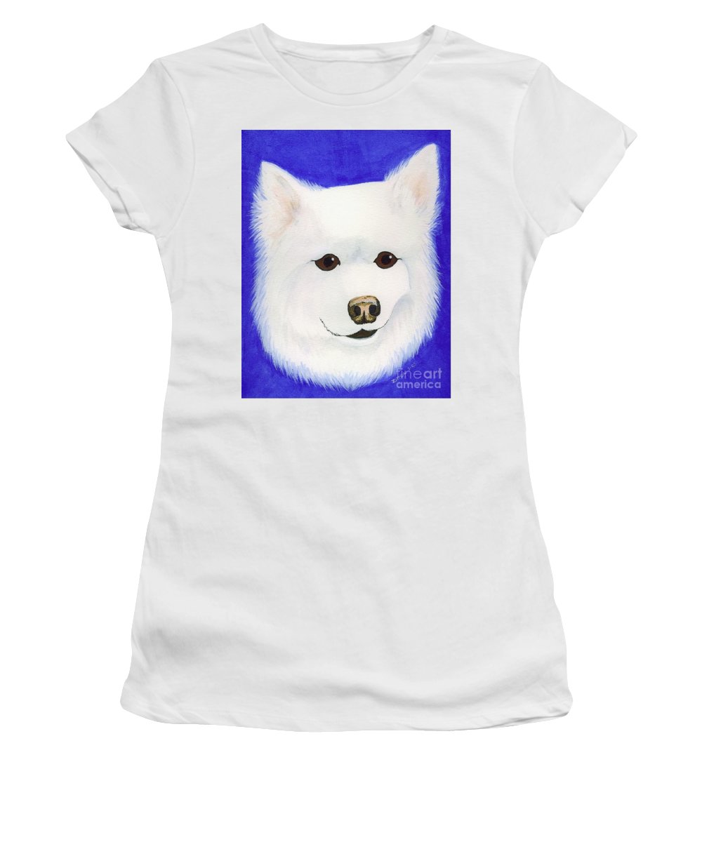 American Eskimo Women's T-Shirt featuring the painting Molly The American Eskimo Dog by Lori Ziemba