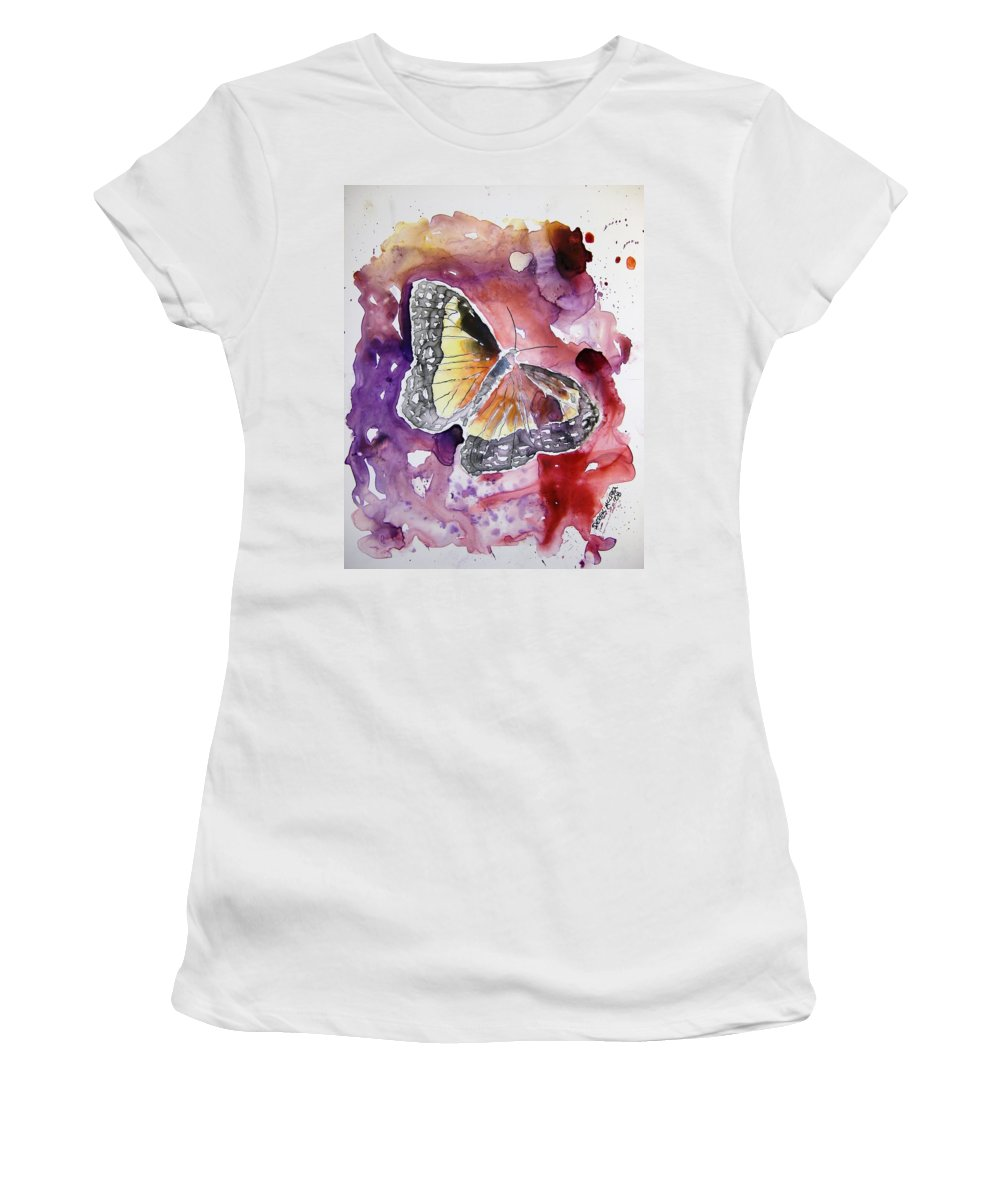 Monarch Women's T-Shirt (Athletic Fit) featuring the painting Monarch Butterfly by Derek Mccrea