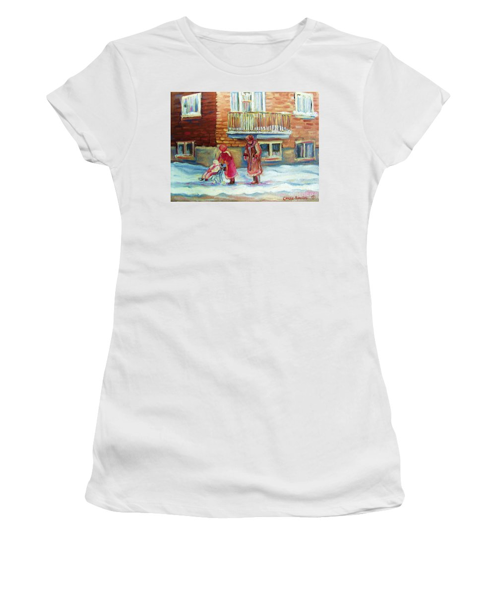 Montreal Women's T-Shirt featuring the painting Montreal Winter Scenes by Carole Spandau