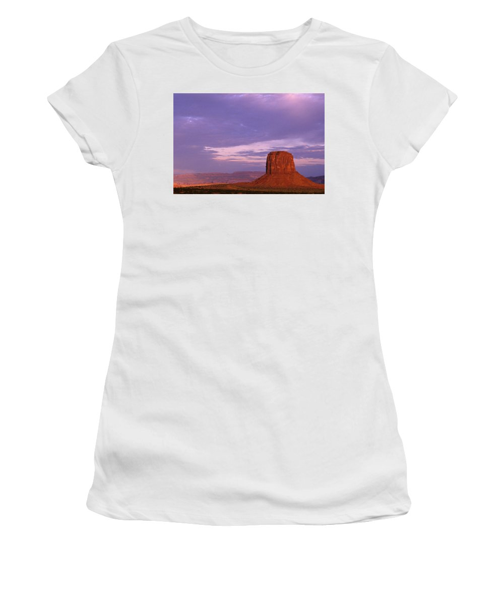 Adventure Women's T-Shirt (Athletic Fit) featuring the photograph Monument Valley Red Rock Formations At Sunrise by Jim Corwin