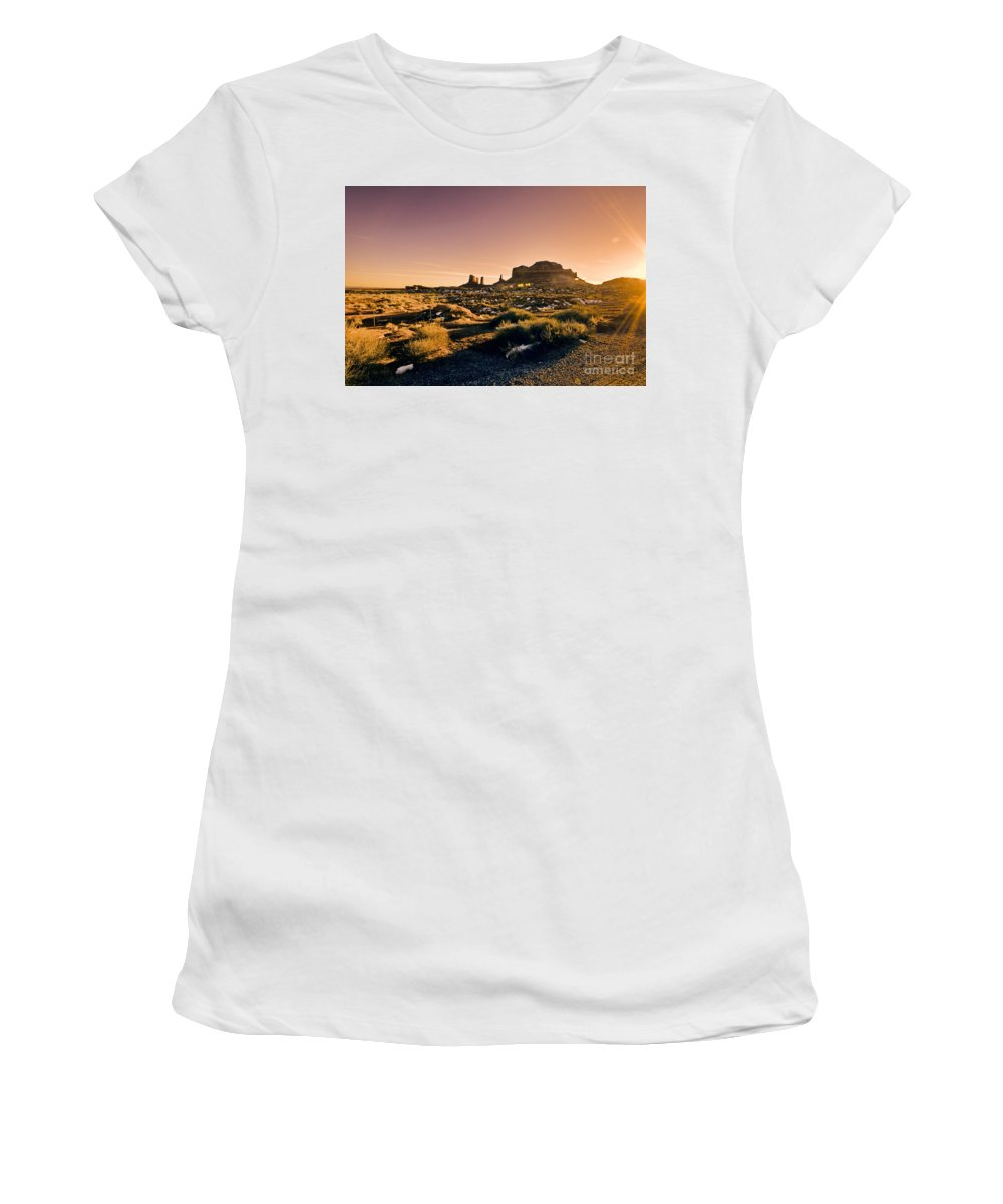 Monument Valley Women's T-Shirt (Athletic Fit) featuring the photograph Monument Valley -utah V7 by Douglas Barnard
