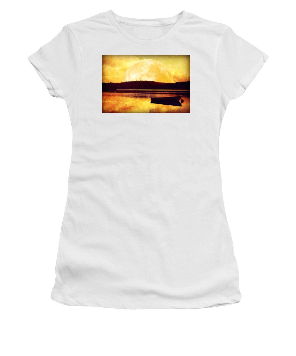 Moon Women's T-Shirt (Athletic Fit) featuring the photograph Moon Landscape by Heike Hultsch