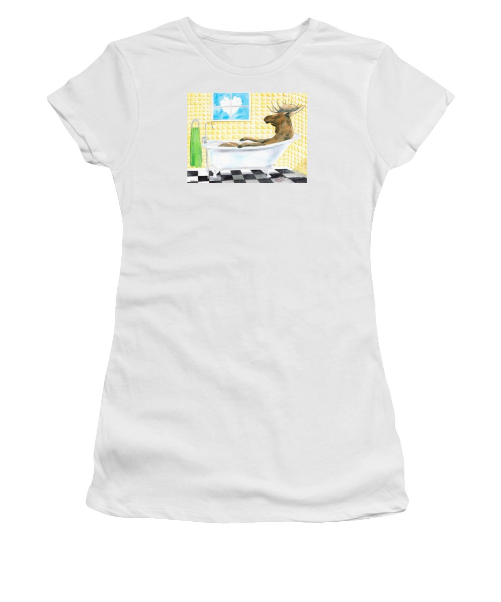 Moose Women's T-Shirt (Athletic Fit) featuring the painting Moose Bath by LeAnne Sowa