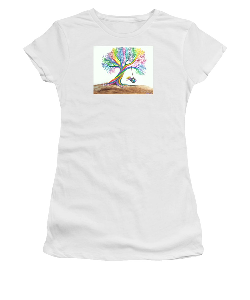 Enchanted Tree Of Rainbows Women's T-Shirt (Athletic Fit) featuring the painting More Rainbow Tree Dreams by Nick Gustafson