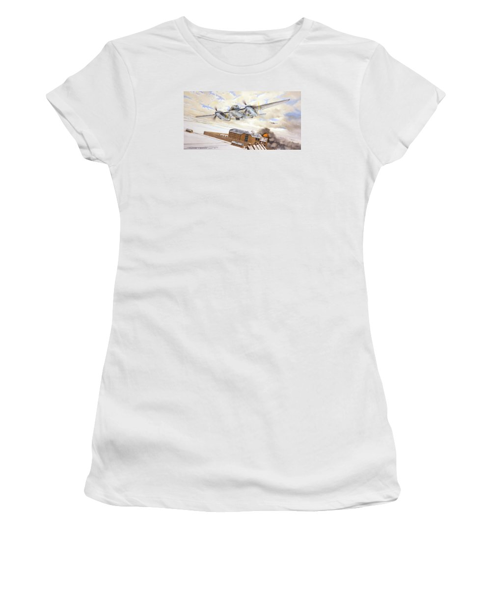 Aviation Women's T-Shirt featuring the painting Mosquitoes Over Jericho by Marc Stewart