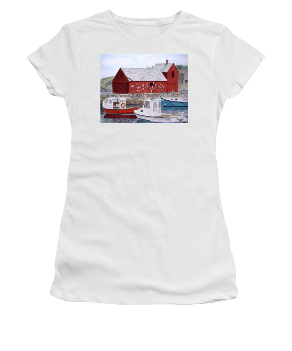 Motif #1 Women's T-Shirt (Athletic Fit) featuring the painting Motif No 1 by Carol Flagg