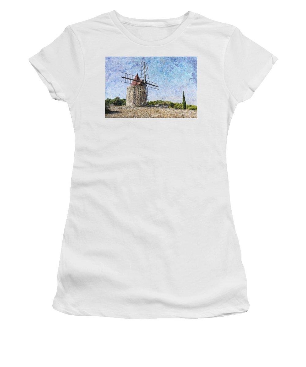 Moulin De Daudet Women's T-Shirt (Athletic Fit) featuring the photograph Moulin De Daudet Fontvieille France On A Texture Dsc01833 by Greg Kluempers