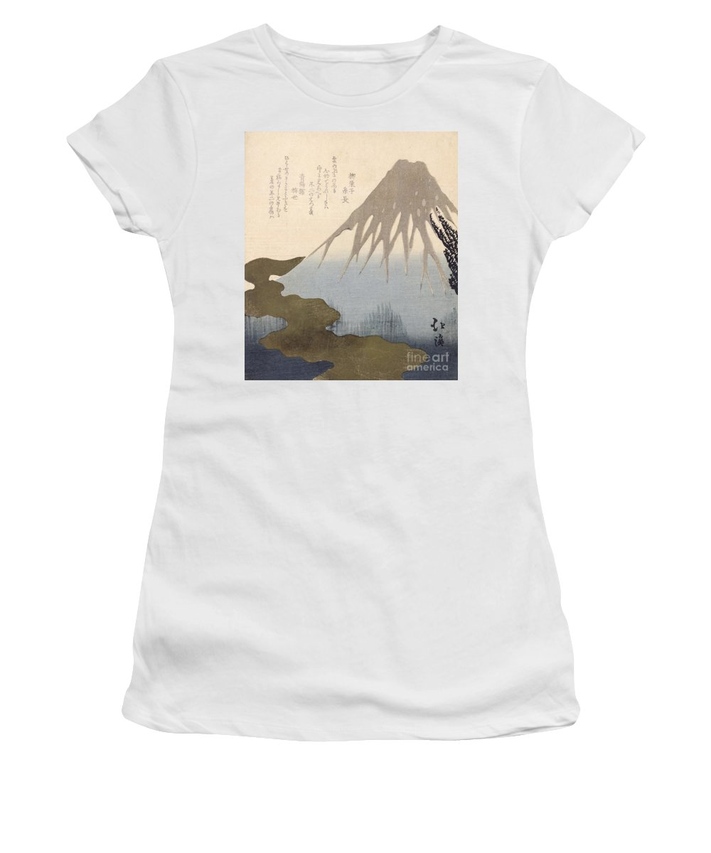Mountain Women's T-Shirt (Athletic Fit) featuring the painting Mount Fuji Under The Snow by Toyota Hokkei