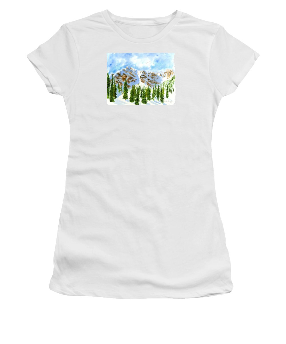Mountains Women's T-Shirt (Athletic Fit) featuring the painting Mount Ogden by Walt Brodis