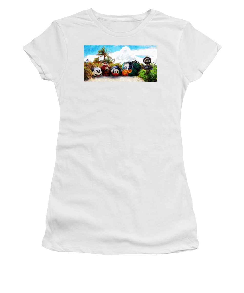Disney Women's T-Shirt featuring the painting Mount Rustmore Castaway Cay by Sandy MacGowan