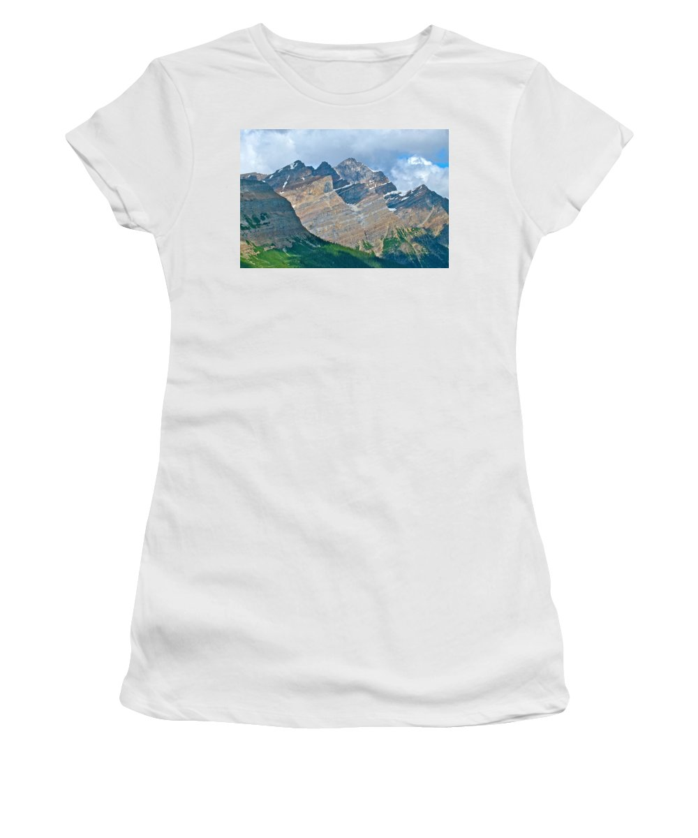Mountain Peaks From Bow Summit Along Icefields Parkway In Alberta Women's T-Shirt featuring the photograph Mountain Peaks From Bow Summit Along Icefield Parkway In Alberta by Ruth Hager