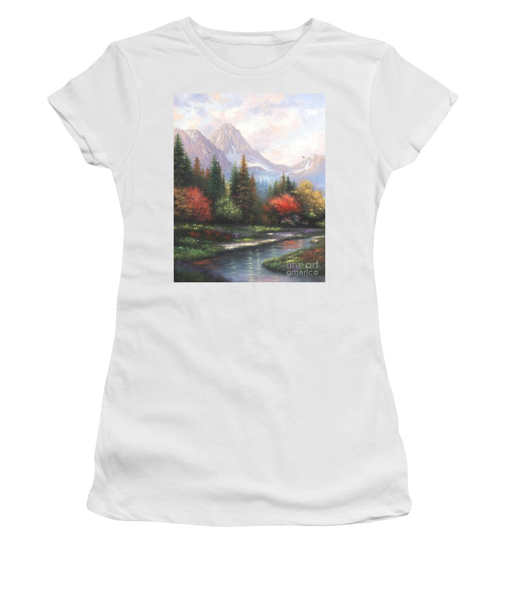 Mountains Women's T-Shirt featuring the painting Mountain Peaks by Vickie Wade