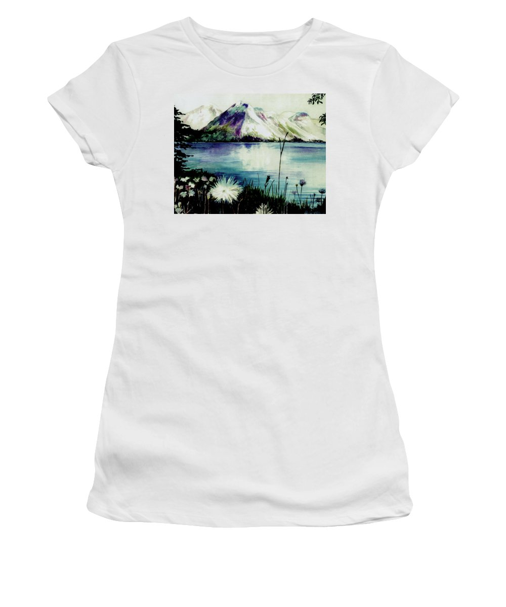 Landscape Women's T-Shirt featuring the painting Mountain Serenity by Brenda Owen