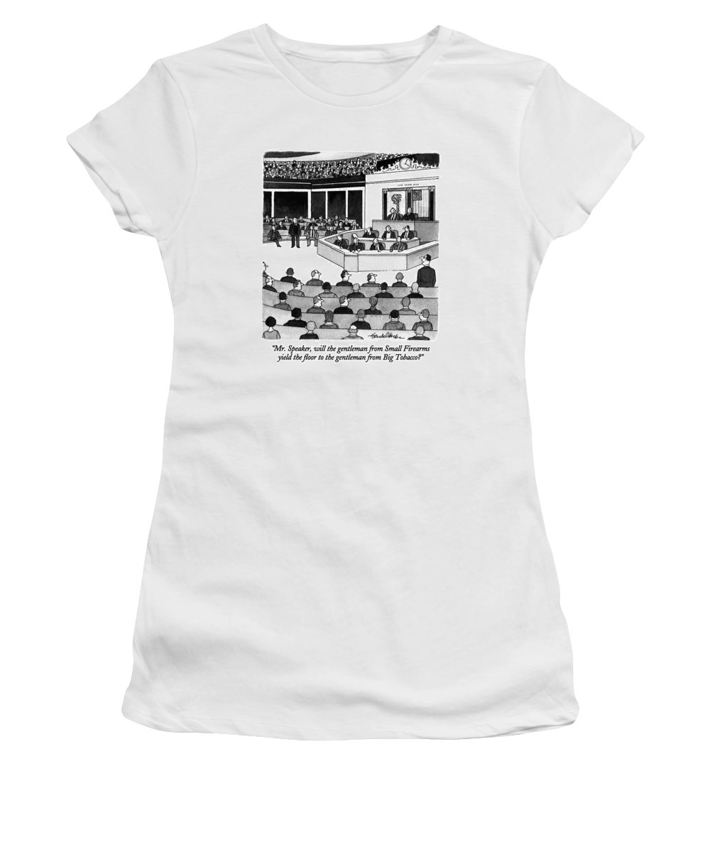 Congressman To Speaker Of The House Women's T-Shirt (Athletic Fit) featuring the drawing Mr. Speaker by J.B. Handelsman