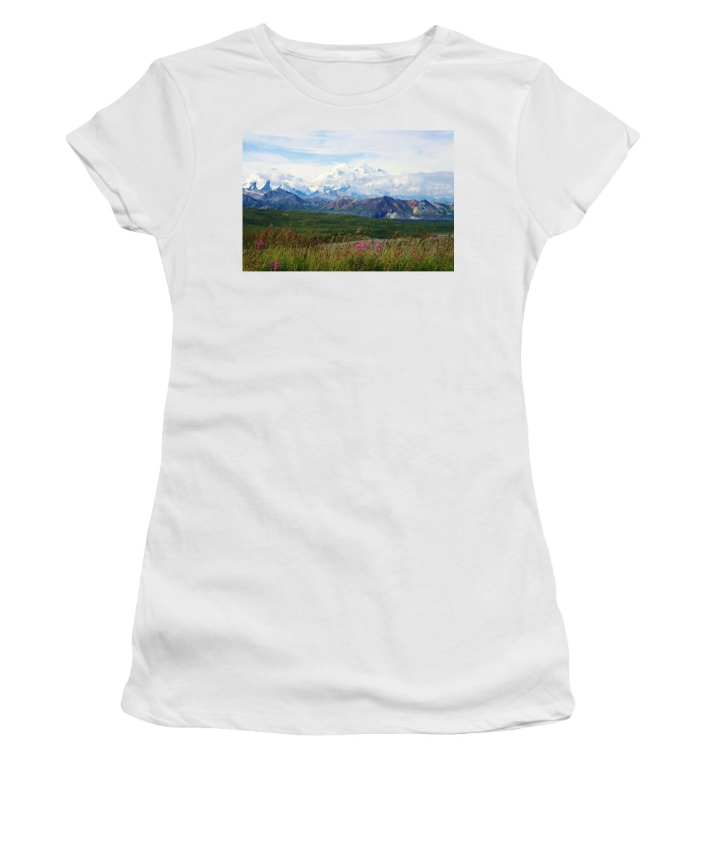 Mckinley Women's T-Shirt (Athletic Fit) featuring the photograph Mt. Mckinley Denali National Park by Karen Jones