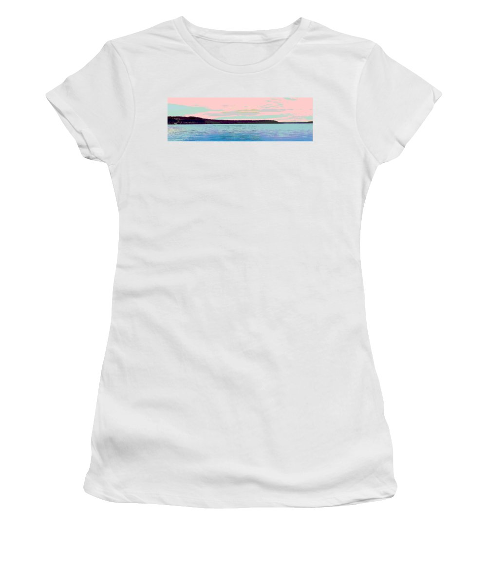 Abstract Women's T-Shirt (Athletic Fit) featuring the digital art Mukilteo Clinton Ferry Panel 1 Of 3 by James Kramer
