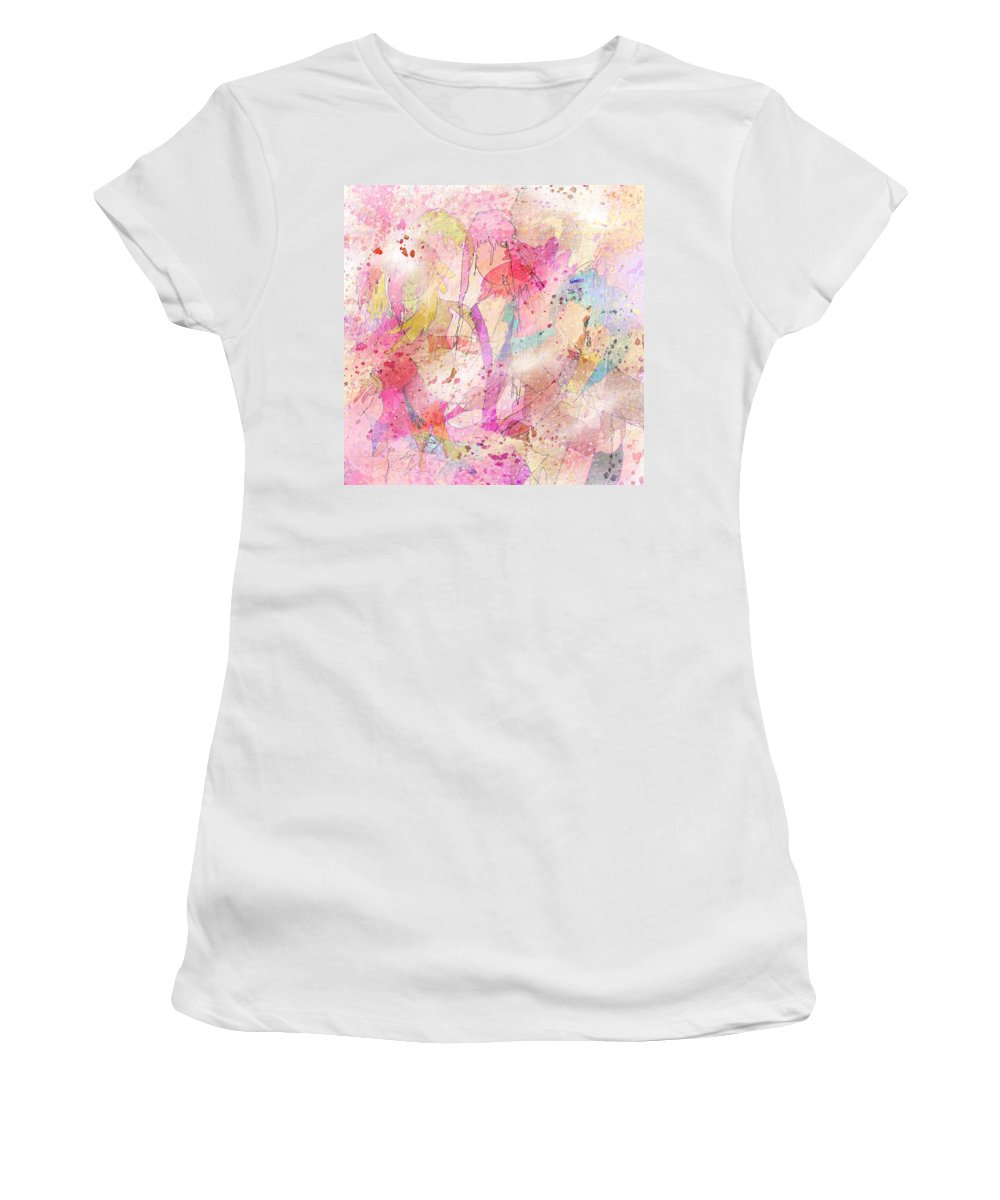 Abstract Women's T-Shirt (Athletic Fit) featuring the digital art My Imaginary Friends by Rachel Christine Nowicki