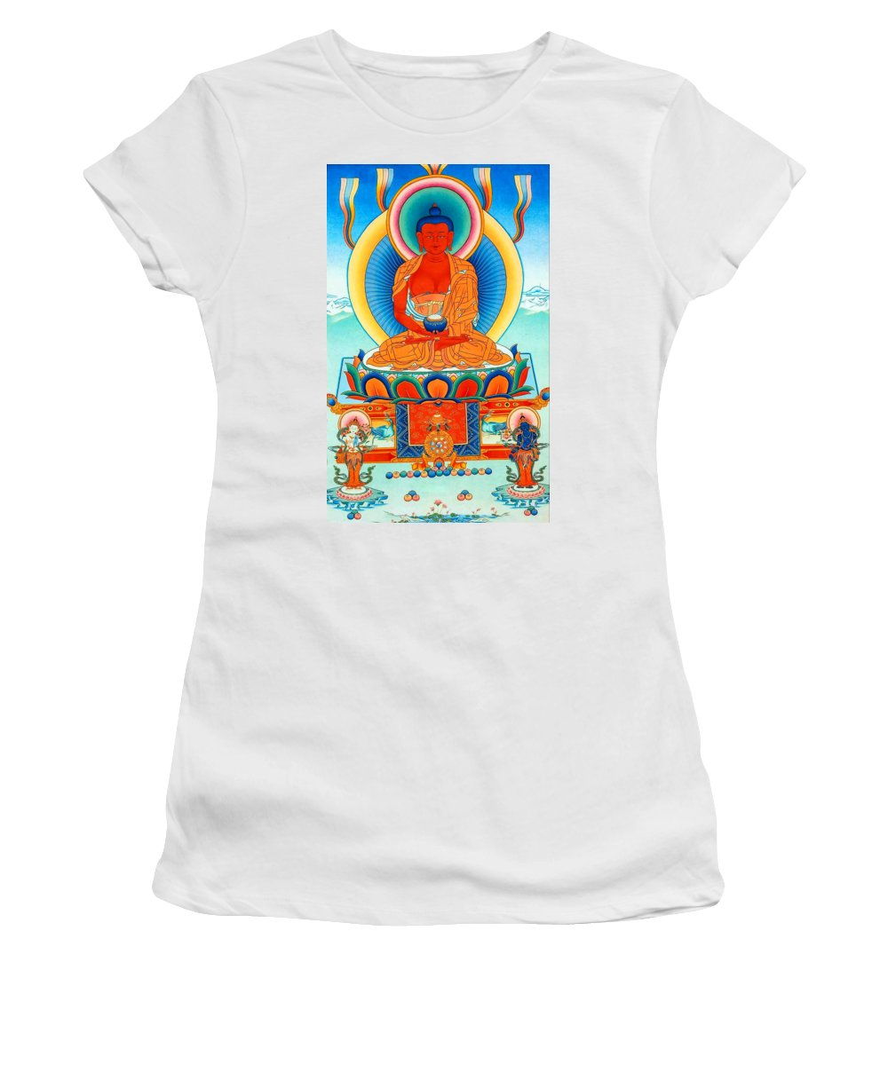 Worshipping Buddha Women's T-Shirt (Athletic Fit) featuring the photograph Namo Amitabha Buddha 35 by Jeelan Clark
