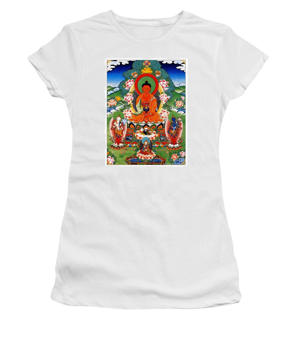 Namo Amitabha Buddha Women's T-Shirt (Athletic Fit) featuring the painting Namo Amitabha Buddha 40 by Jeelan Clark