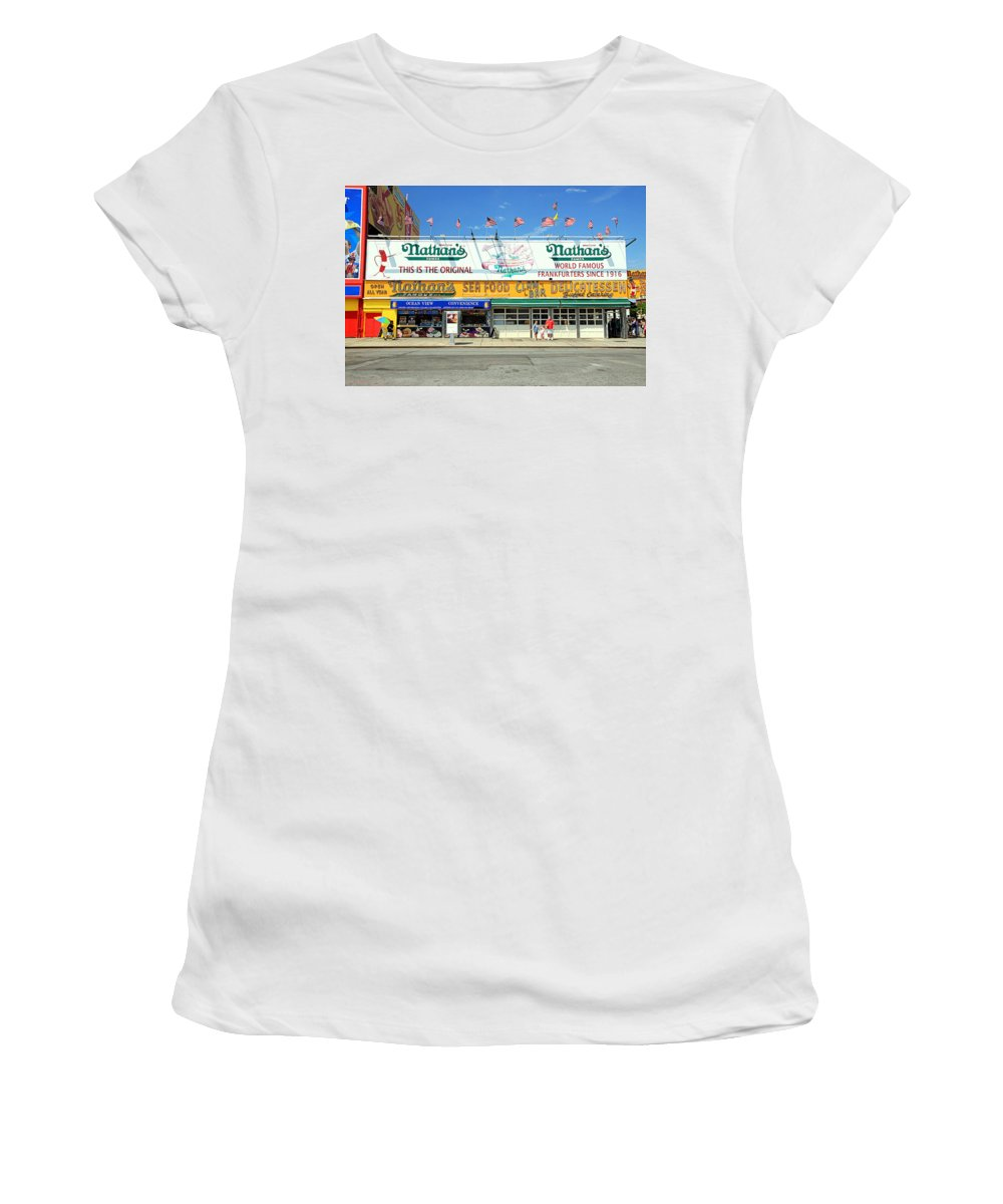 Dogs Women's T-Shirt (Athletic Fit) featuring the photograph Nathan's Coney Island by Valentino Visentini