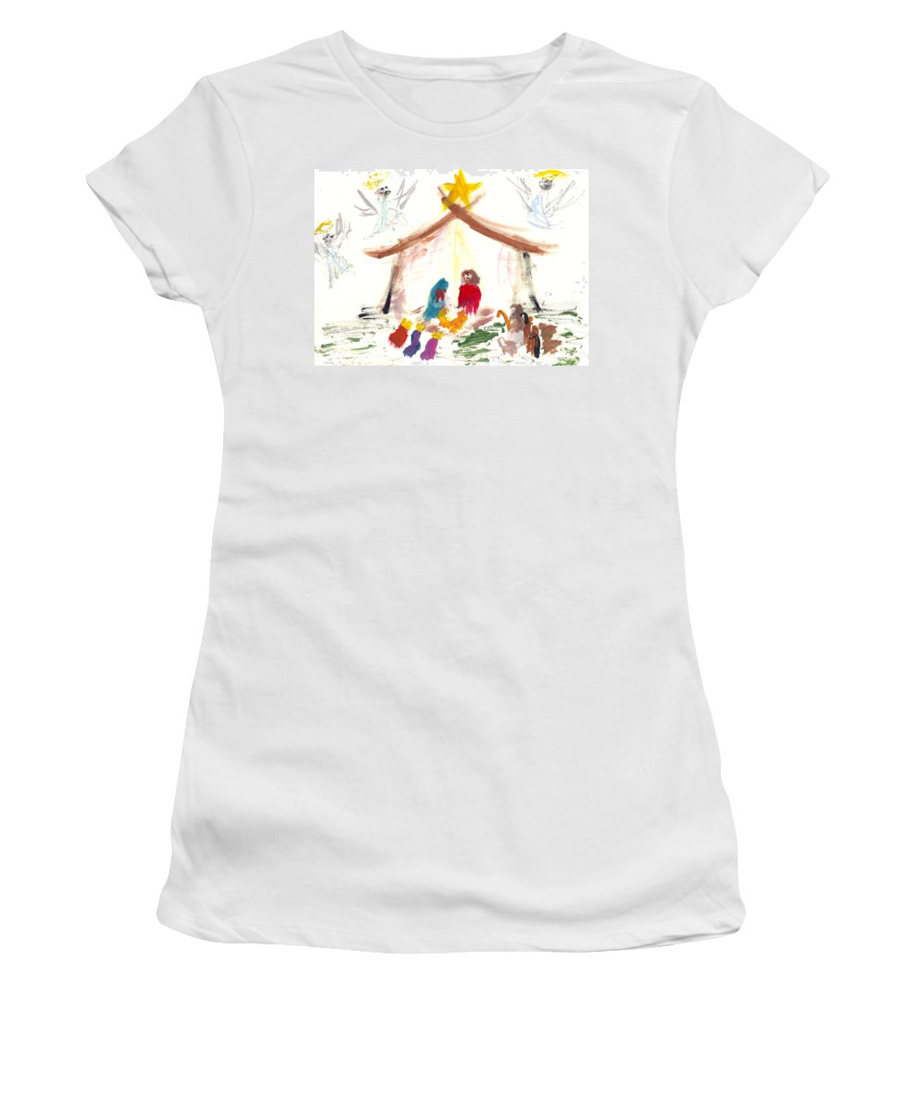Nativity Women's T-Shirt featuring the painting Nativity by Molly Picklesimer