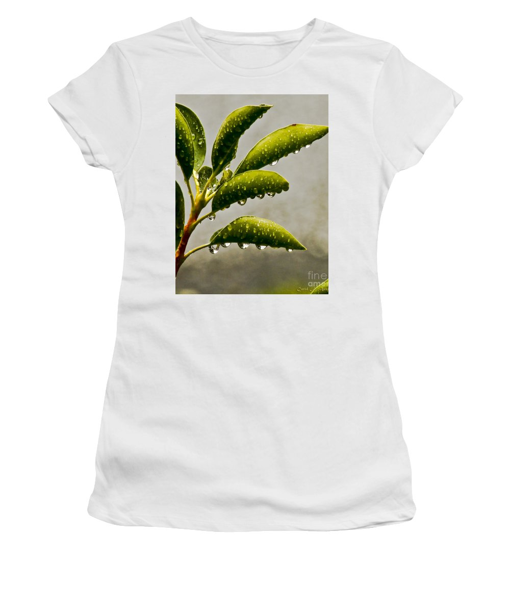 Nature Women's T-Shirt (Athletic Fit) featuring the photograph Natures Teardrops by Carol F Austin