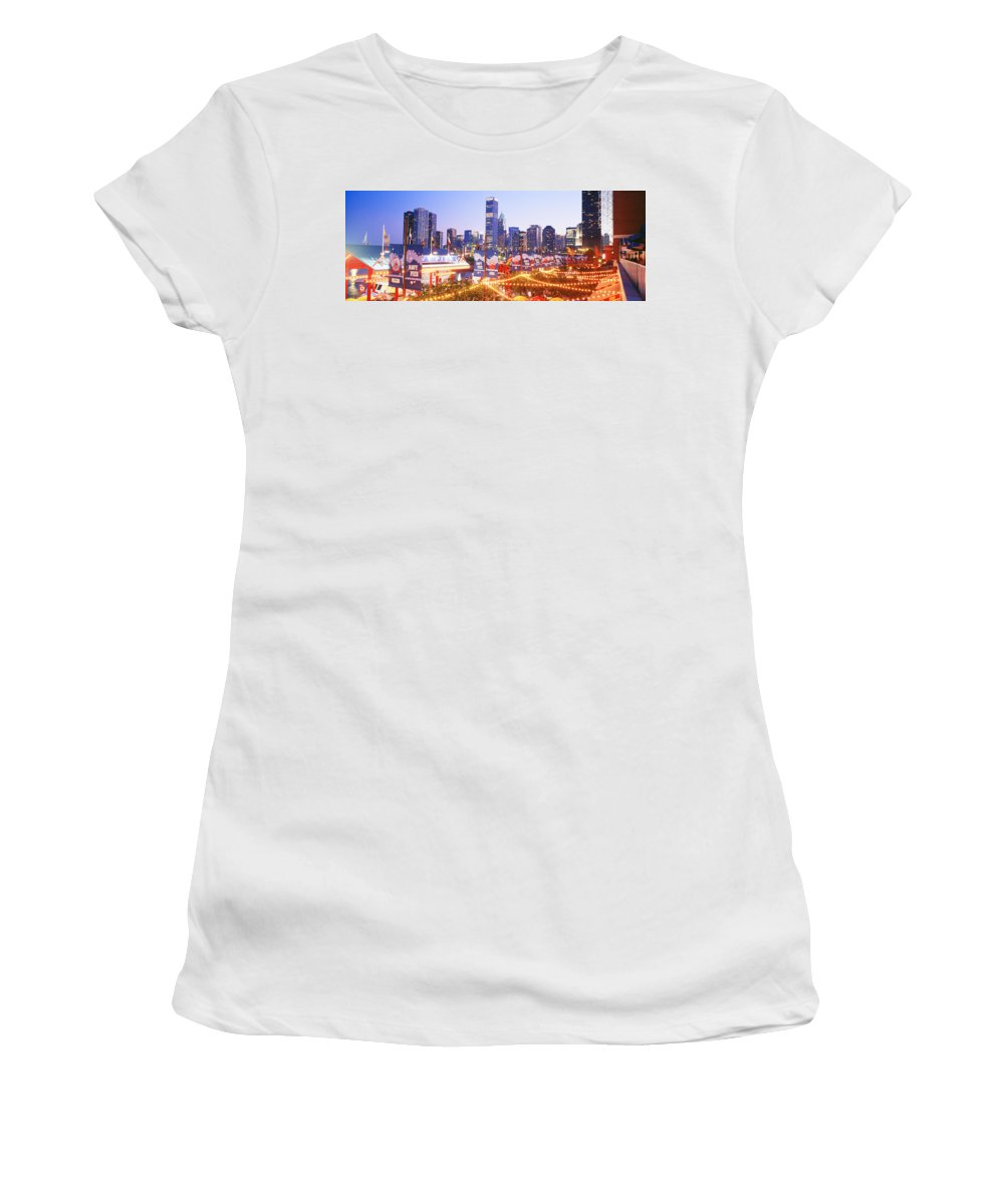 Photography Women's T-Shirt featuring the photograph Navy Pier Chicago Il by Panoramic Images