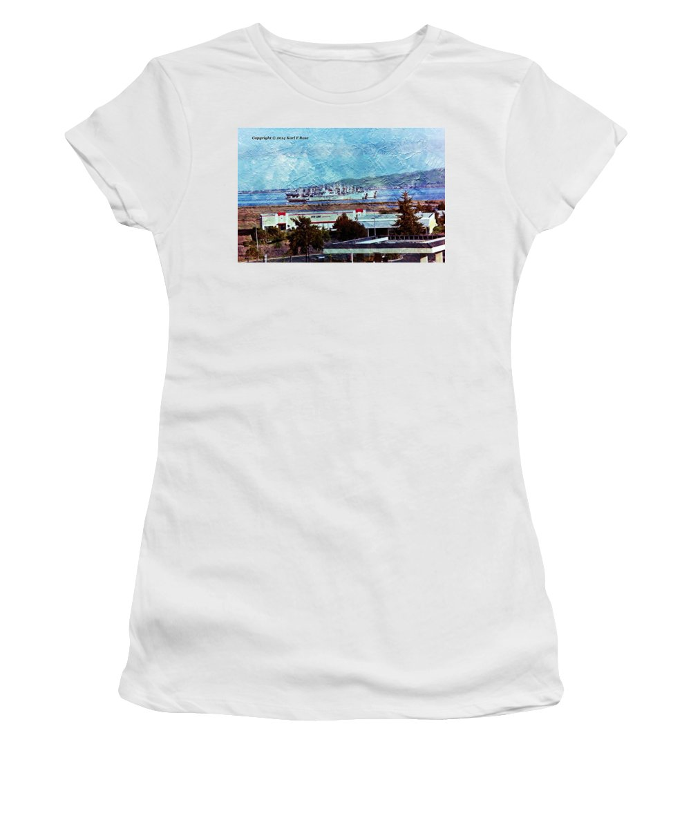Navy Women's T-Shirt (Athletic Fit) featuring the photograph Navy Ships As A Painting by Karl Rose