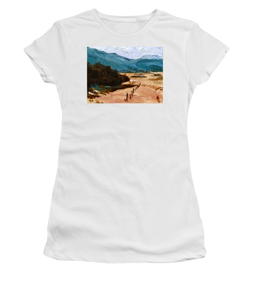 Near La Vita Women's T-Shirt (Athletic Fit) featuring the painting Near La Veta by Beverley Harper Tinsley