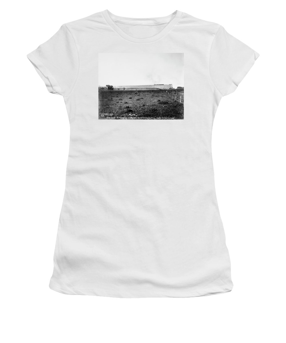 1890 Women's T-Shirt (Athletic Fit) featuring the photograph Nebraska Railroad Trestle by Granger