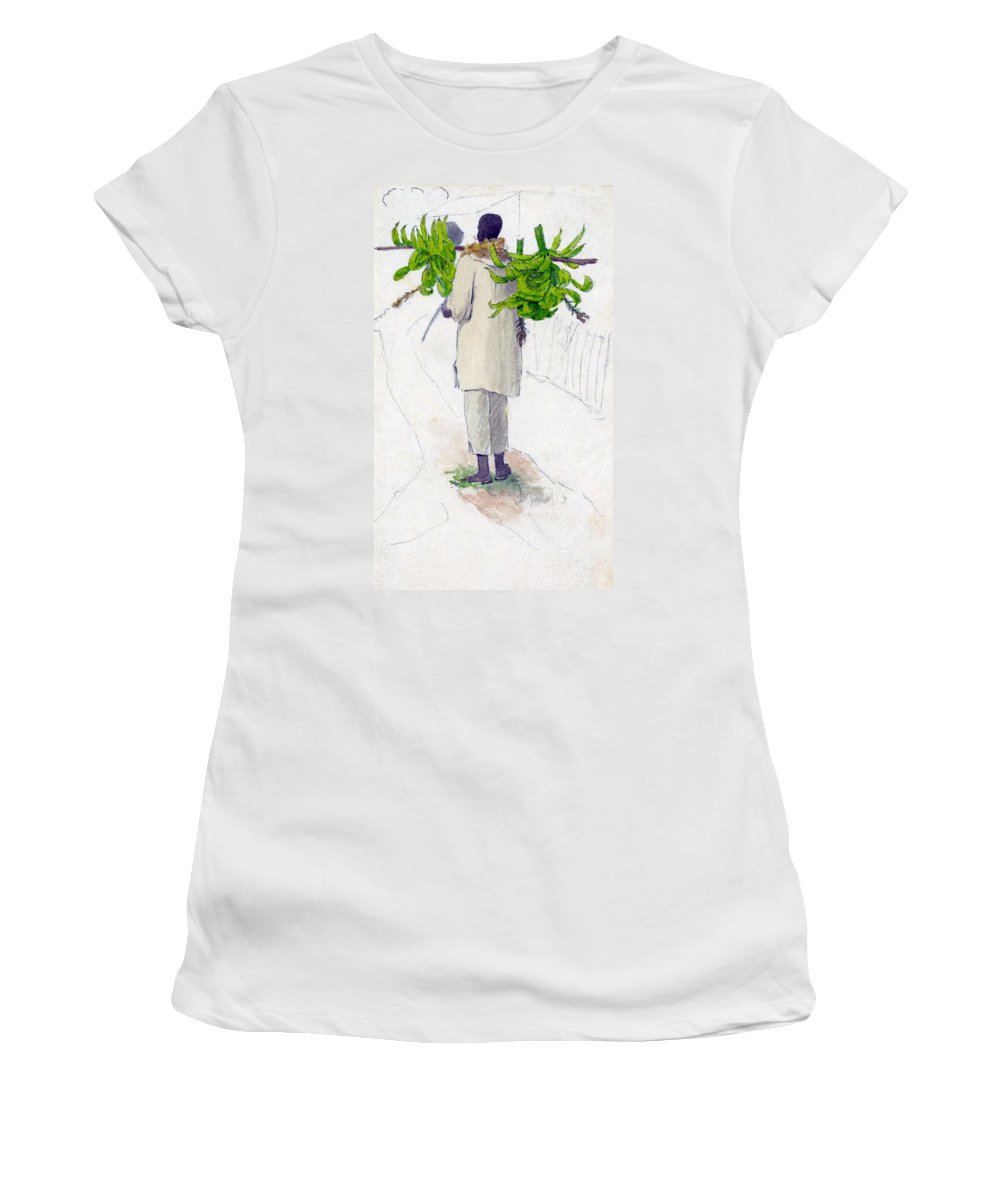 William Berryman Women's T-Shirt (Athletic Fit) featuring the digital art Negro Man Carrying Plantains On Pole by William Berryman