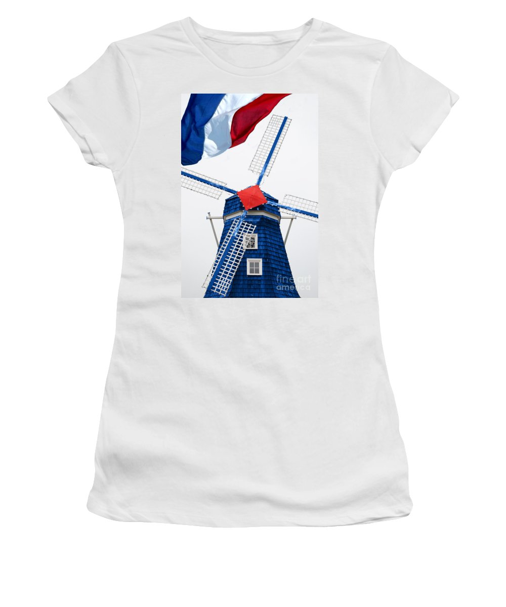 Netherland Women's T-Shirt (Athletic Fit) featuring the photograph Netherland Windmill by Jost Houk
