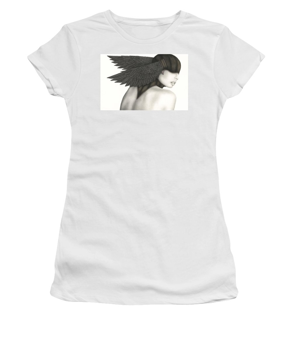 Woman Women's T-Shirt (Athletic Fit) featuring the painting Nevermore by Pat Erickson