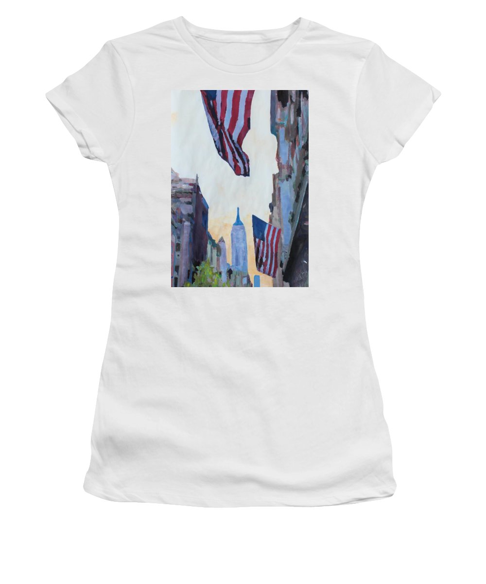 Manhattan Painting Women's T-Shirt (Athletic Fit) featuring the painting New York City - Manhattan Stars And Stripes by M Bleichner