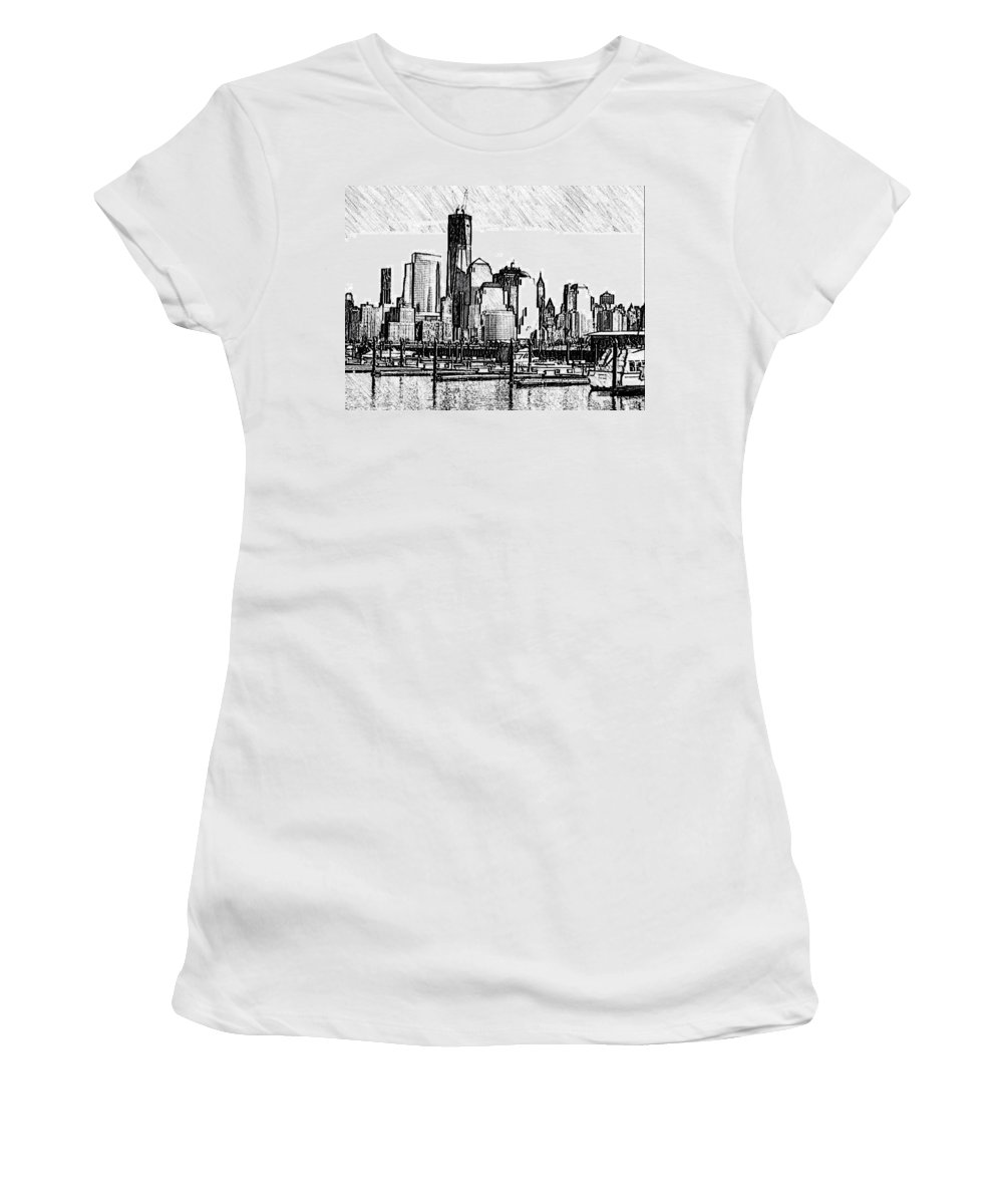 Nyc Women's T-Shirt (Athletic Fit) featuring the photograph New York Harbor by Kathleen Odenthal