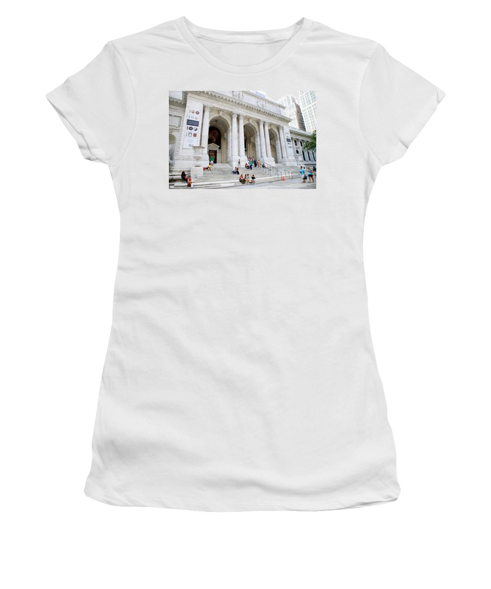 New Women's T-Shirt (Athletic Fit) featuring the photograph New York Public Library by Valentino Visentini