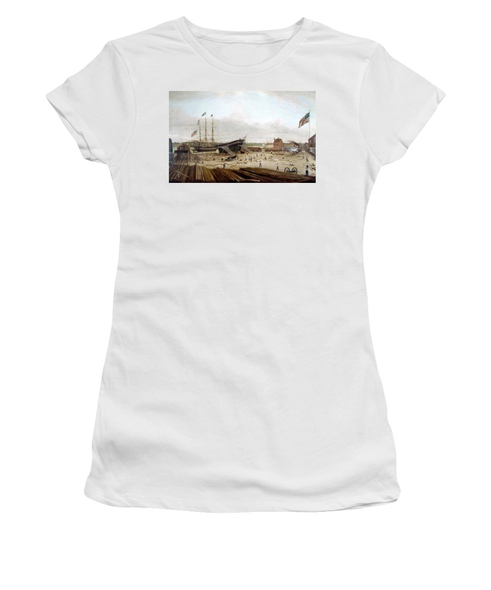 1833 Women's T-Shirt (Athletic Fit) featuring the painting New York Shipyard, 1833 by Granger
