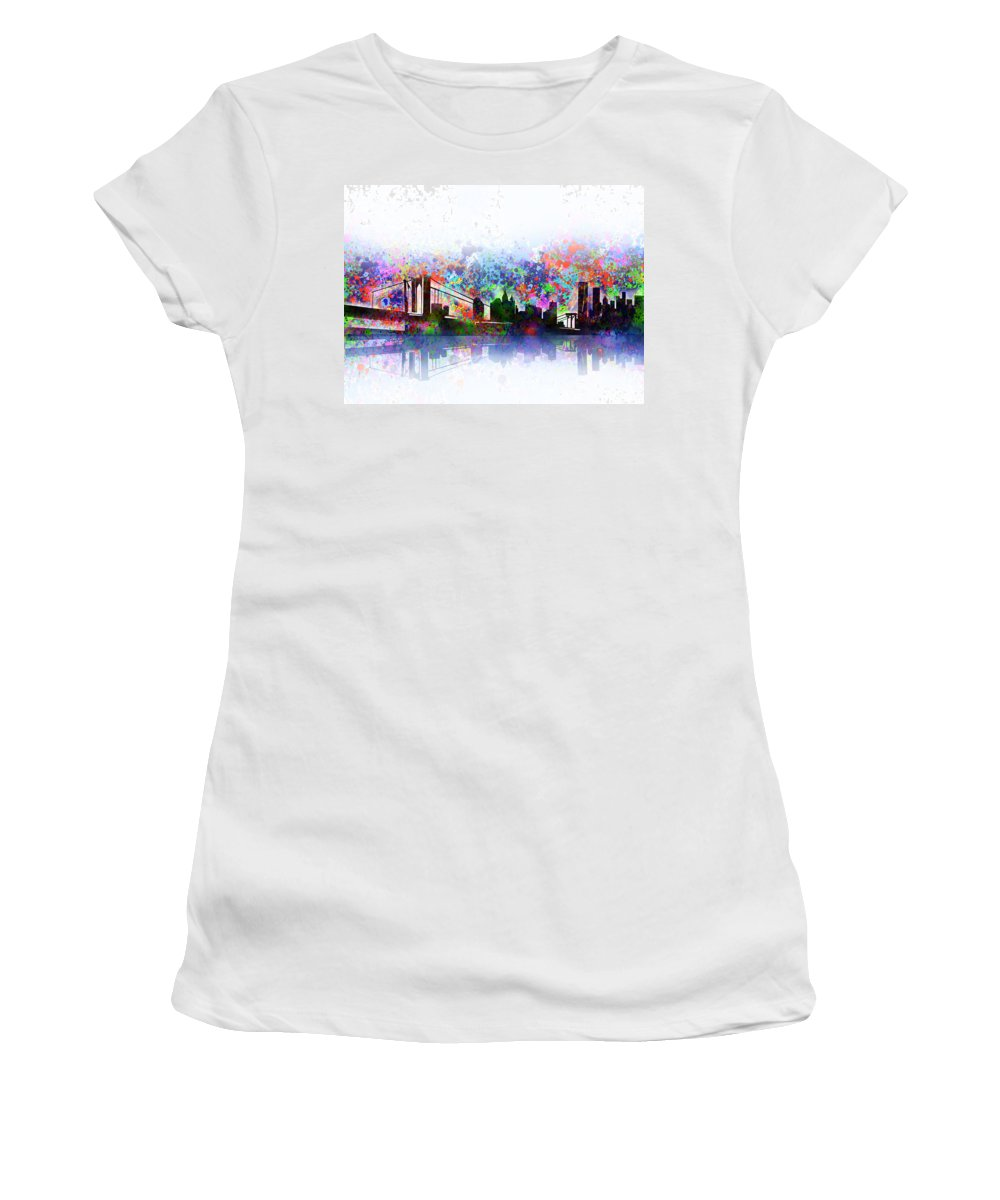 New York Women's T-Shirt featuring the painting New York Skyline Splats 2 by Bekim M