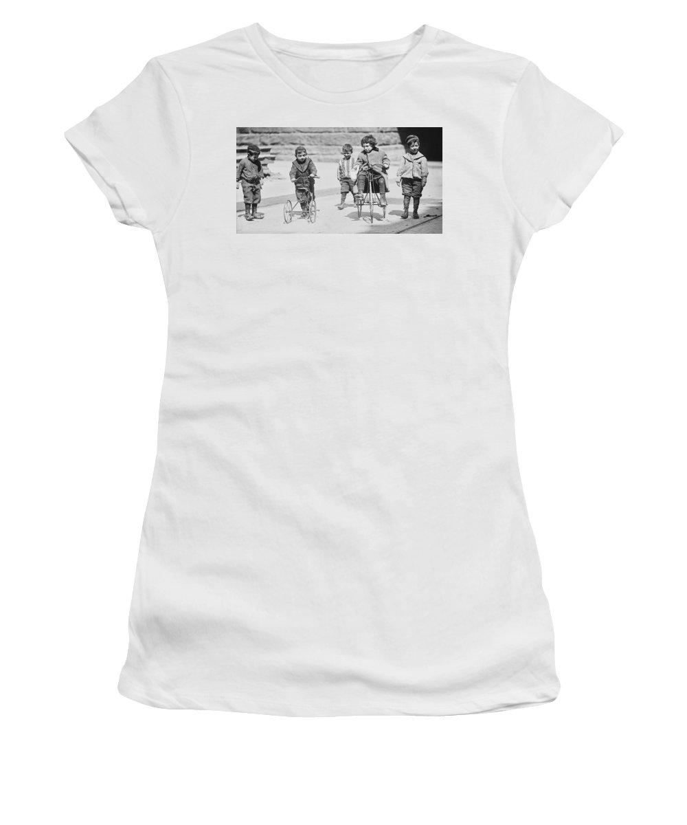 street Kids Women's T-Shirt featuring the photograph New York Street Kids - 1909 by Daniel Hagerman