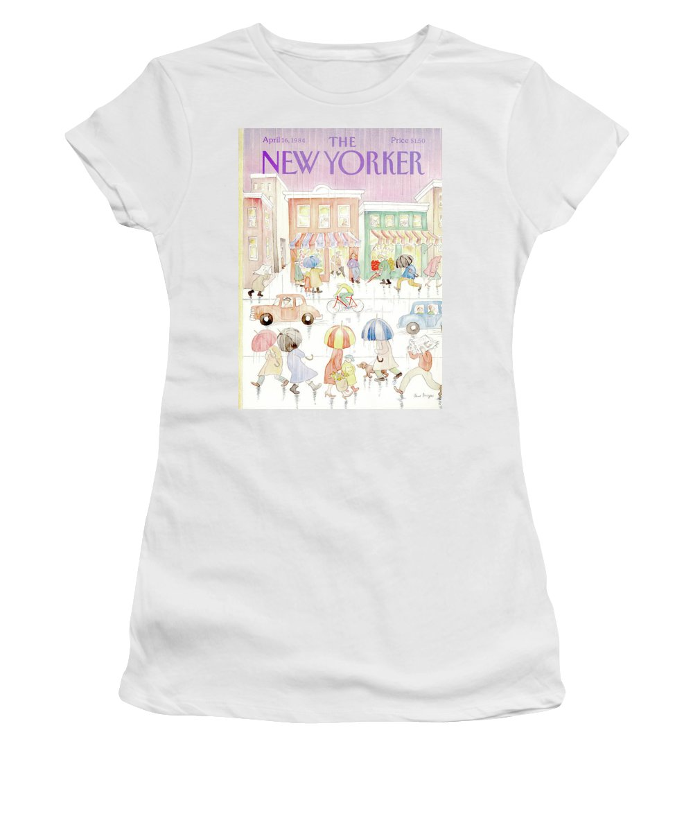 Rain Women's T-Shirt featuring the painting New Yorker April 16th, 1984 by Anne Burgess