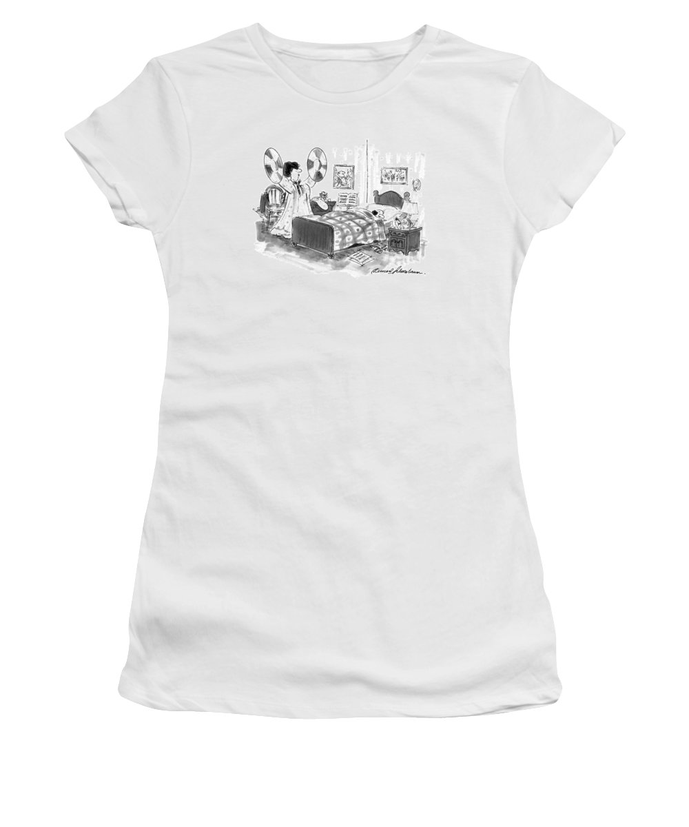 No Caption Wife Of Cymbal Player Holds Her Husband's Cymbals Aloft Near His Bed Where He Is Still Sleeping Women's T-Shirt (Athletic Fit) featuring the drawing New Yorker August 26th, 1996 by Bernard Schoenbaum