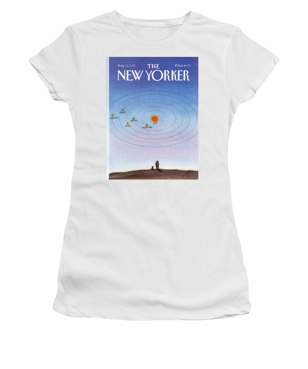New York City Women's T-Shirt featuring the painting New Yorker August 31st, 1987 by Eugene Mihaesco