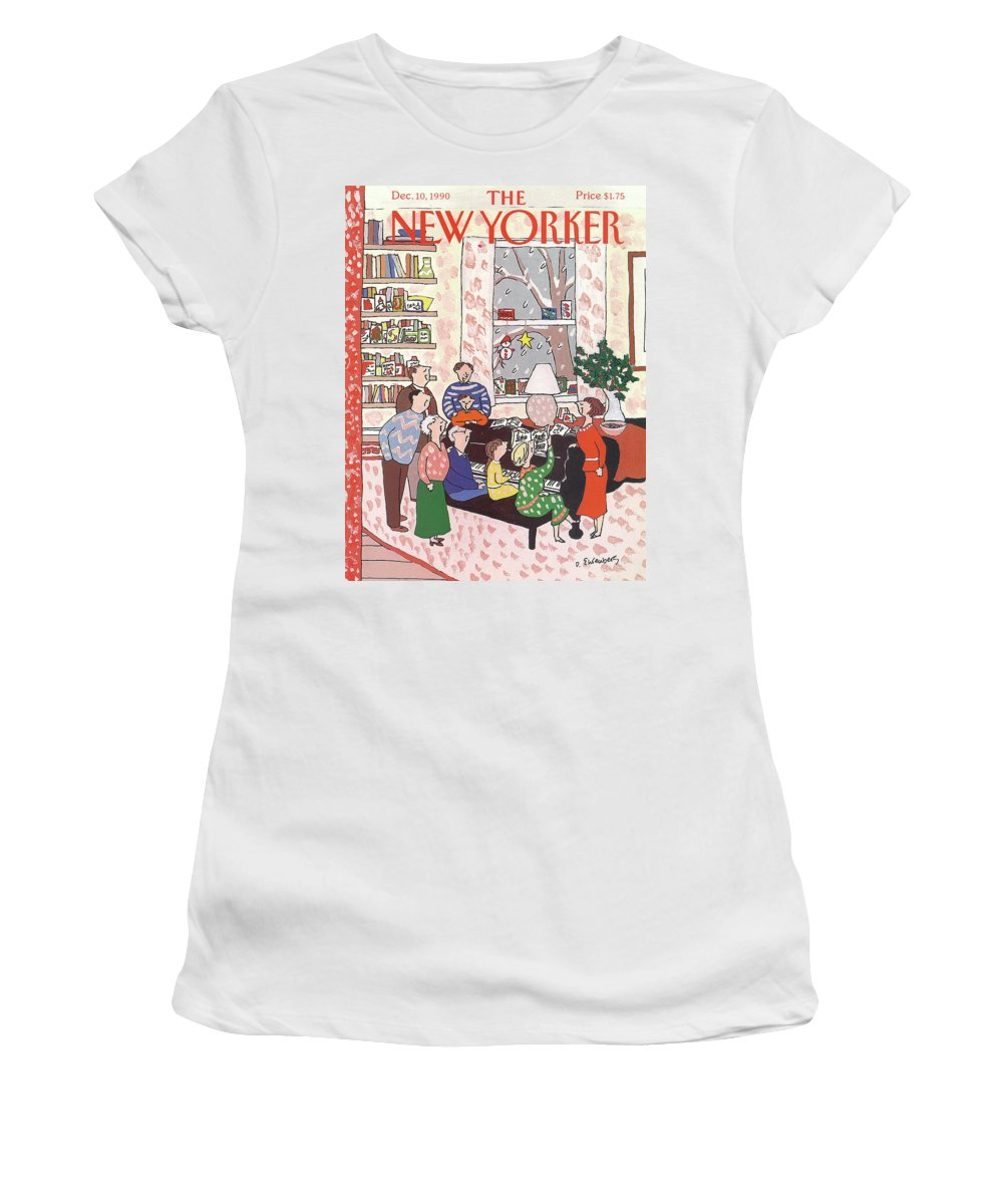 (a Family Gathers Around A Piano As They Sing Christmas Carols.) Entertainment Women's T-Shirt featuring the painting New Yorker December 10th, 1990 by Devera Ehrenberg