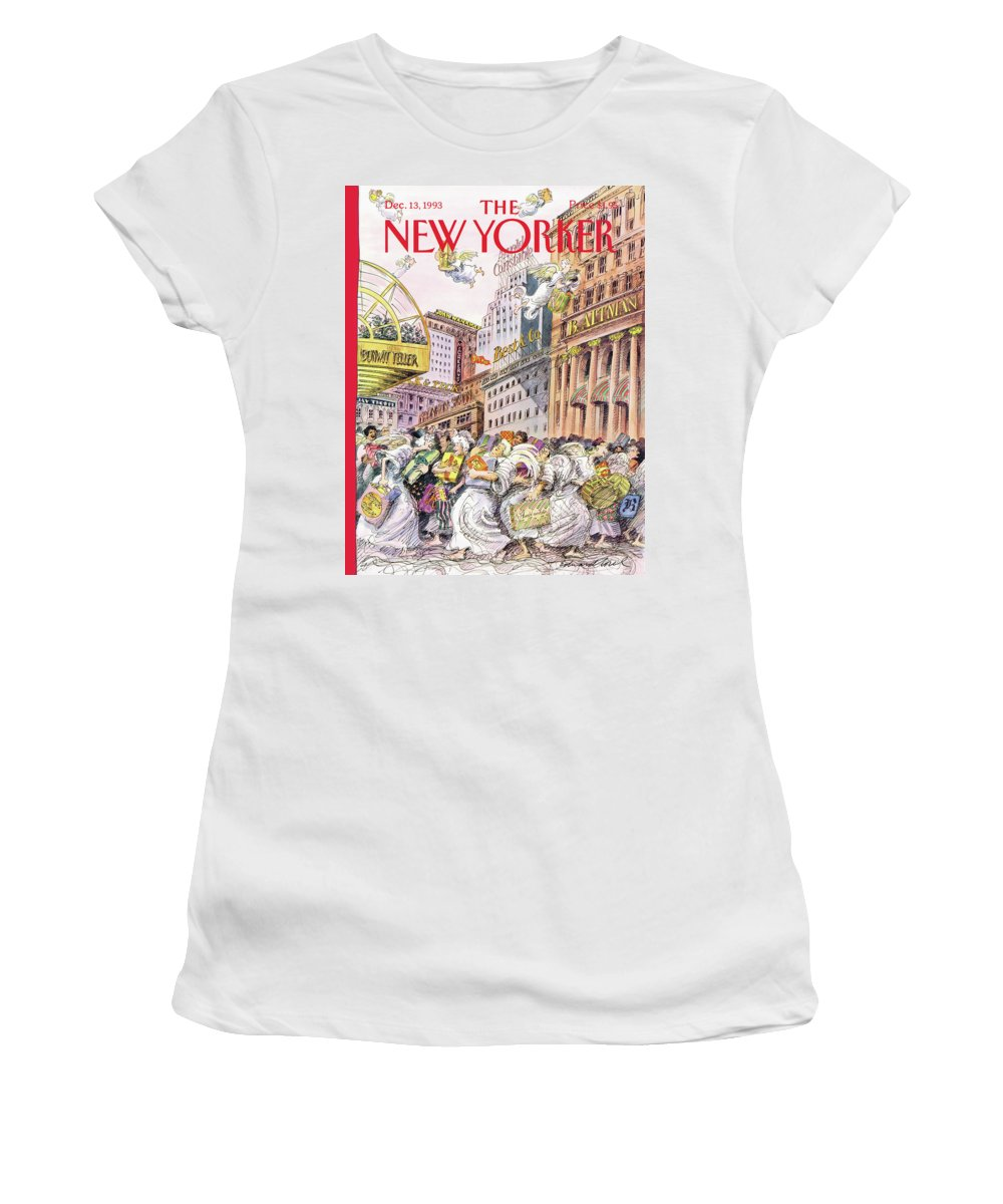 Even The Late Shop Early Women's T-Shirt featuring the painting New Yorker December 13th, 1993 by Edward Sorel