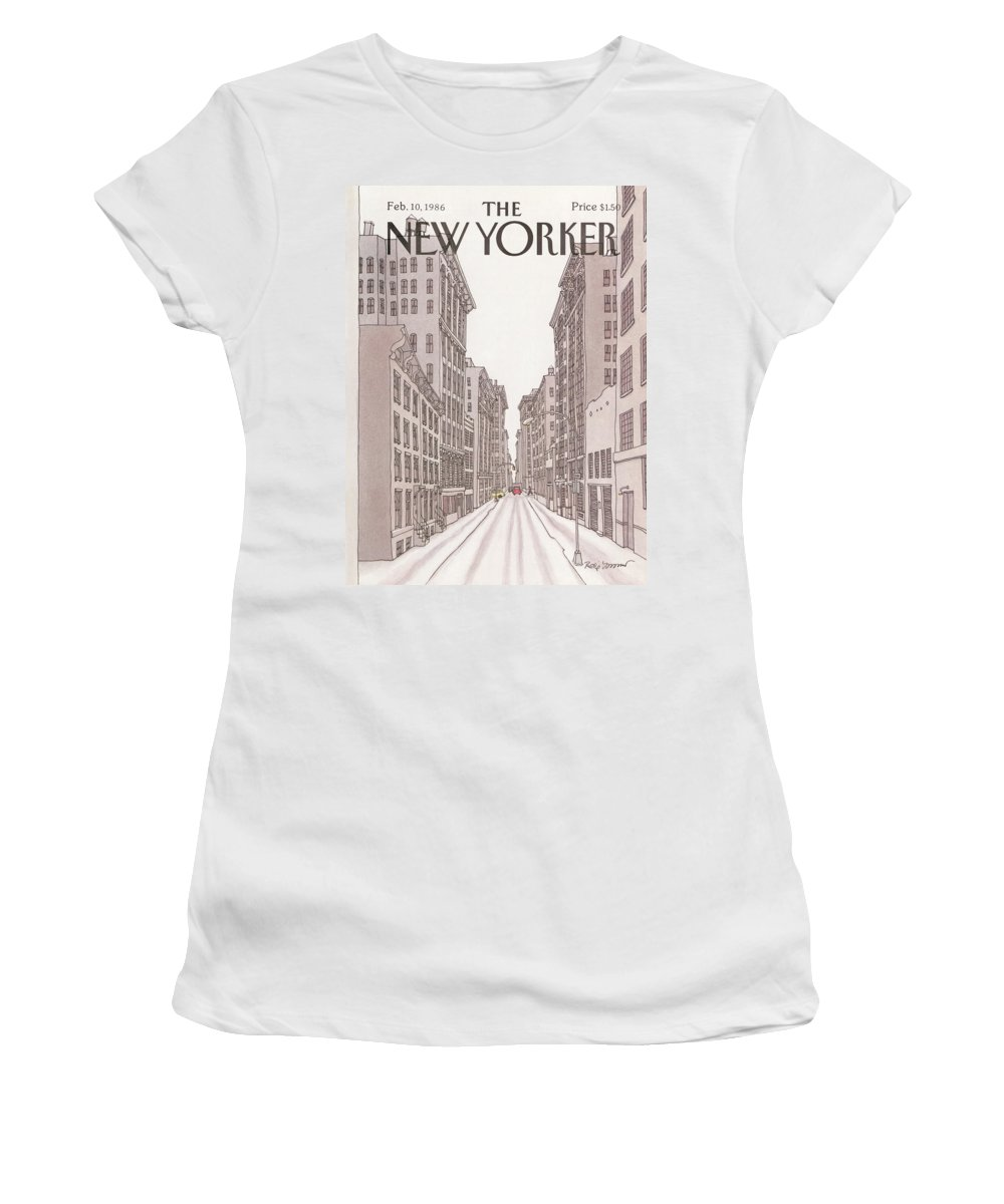 Urban Women's T-Shirt featuring the painting New Yorker February 10th, 1986 by Roxie Munro