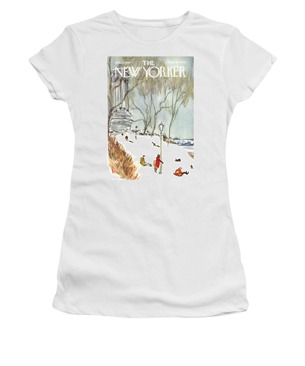 Seasons Women's T-Shirt featuring the painting New Yorker January 27th, 1968 by James Stevenson