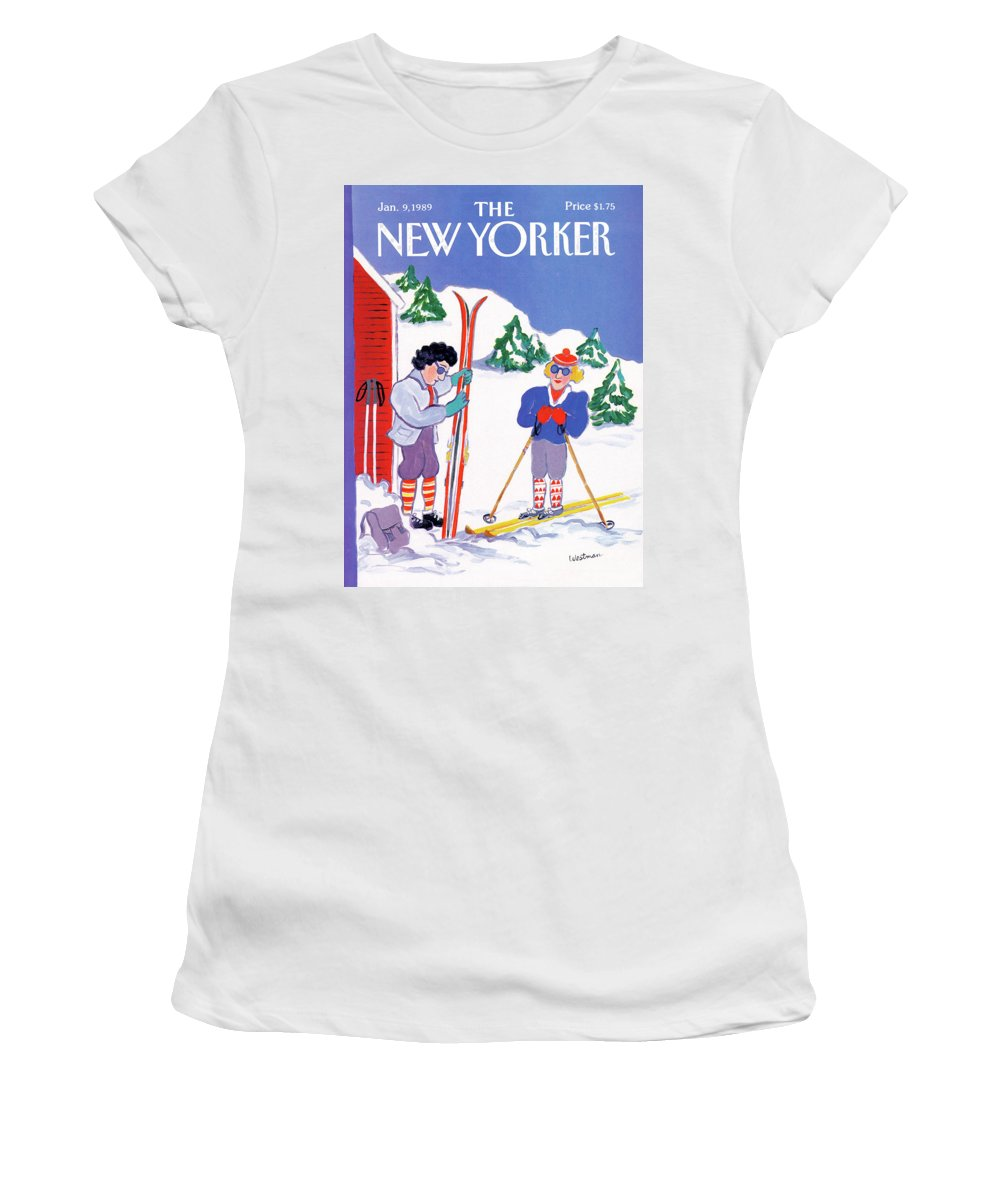 (a Couple Women's T-Shirt featuring the painting New Yorker January 9th, 1989 by Barbara Westman