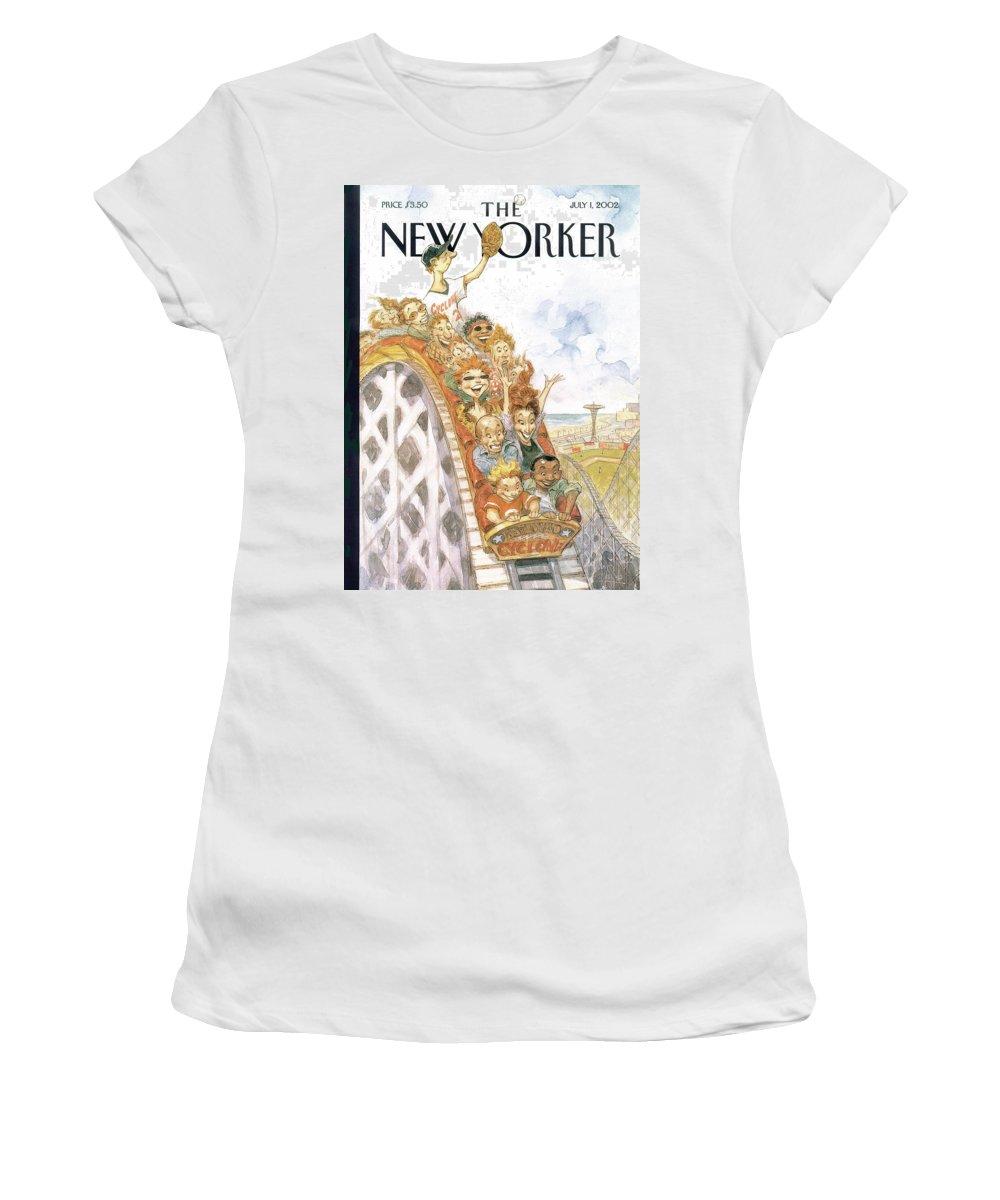 Coney Island Women's T-Shirt featuring the painting Fair Ball by Peter de Seve